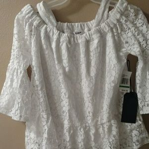 Kenzie tunic style white lacy top.